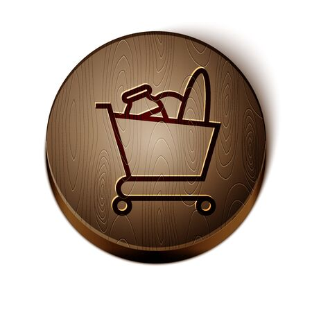 Brown line Shopping cart and food icon isolated on white background. Food store, supermarket. Wooden circle button. Vector Illustration