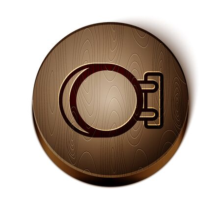 Brown line Signboard hanging icon isolated on white background. Suitable for advertisements bar, cafe, pub, restaurant. Wooden circle button.