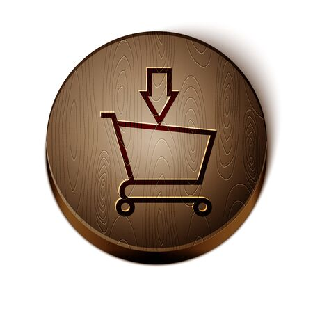 Brown line Add to Shopping cart icon isolated on white background. Online buying concept. Delivery service sign. Supermarket basket symbol. Wooden circle button. Vector Illustration Illustration