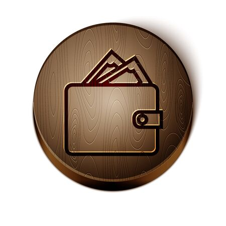 Brown line Wallet with stacks paper money cash icon isolated on white background. Purse icon. Cash savings symbol. Wooden circle button. Vector Illustration 일러스트