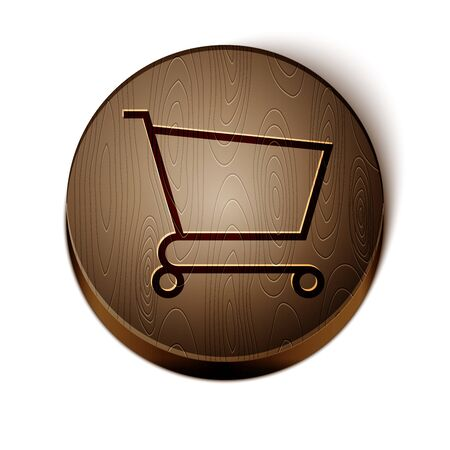 Brown line Shopping cart icon isolated on white background. Online buying concept. Delivery service sign. Supermarket basket symbol. Wooden circle button. Vector Illustration