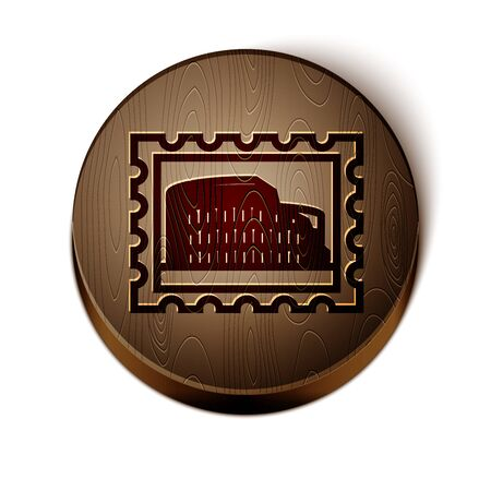 Brown line Postal stamp and Coliseum icon isolated on white background. Colosseum sign. Symbol of Ancient Rome, gladiator fights.