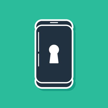 Blue Smartphone with lock icon isolated on green background. Phone with lock. Mobile security, safety, protection concept.