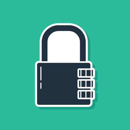 Blue Safe combination lock icon isolated on green background. Combination padlock. Security, safety, protection, password, privacy. Vector Illustration