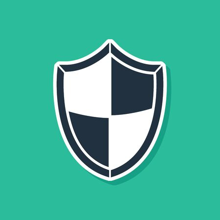 Blue Shield icon isolated on green background. Guard sign. Security, safety, protection, privacy concept. Vector Illustration Ilustração