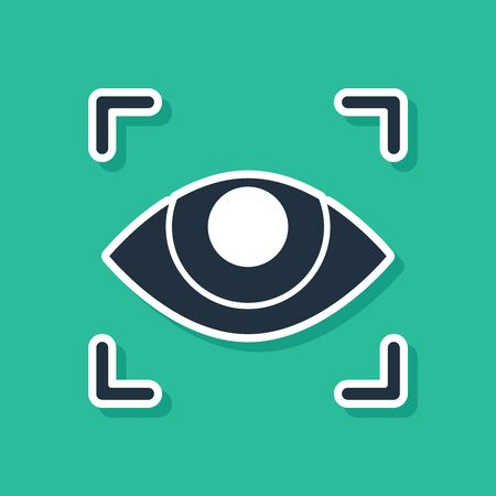 Blue Eye scan icon isolated on green background. Scanning eye. Security check symbol. Cyber eye sign. Vector Illustration