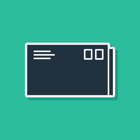 Blue Envelope icon isolated on green background. Email message letter symbol.