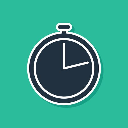 Blue Stopwatch icon isolated on green background. Time timer sign.