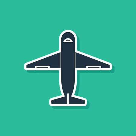 Blue Plane icon isolated on green background. Delivery, transportation. Cargo delivery by air. Airplane with parcels, boxes. Vector Illustration