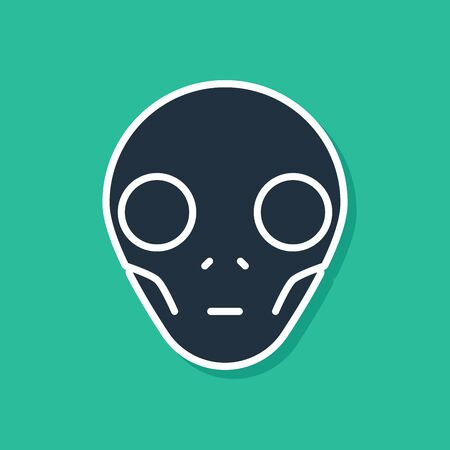 Blue Alien icon isolated on green background. Extraterrestrial alien face or head symbol. Vector Illustration Illustration