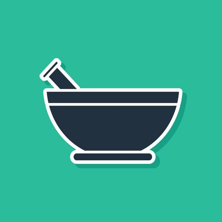 Blue Mortar and pestle icon isolated on green background.