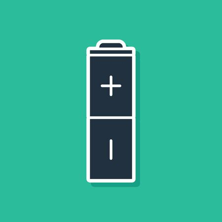 Blue Battery icon isolated on green background. Lightning bolt symbol.