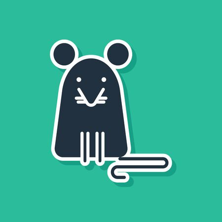 Blue Rat icon isolated on green background. Mouse sign.