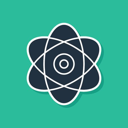 Blue Atom icon isolated on green background. Symbol of science, education, nuclear physics, scientific research. Electrons and protons sign. Vector Illustration