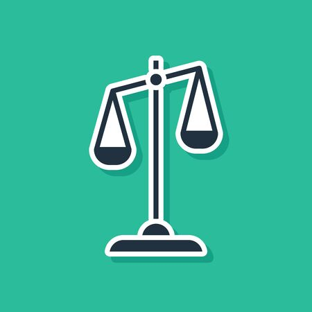 Blue Scales of justice icon isolated on green background. Court of law symbol. Balance scale sign. Vector Illustration