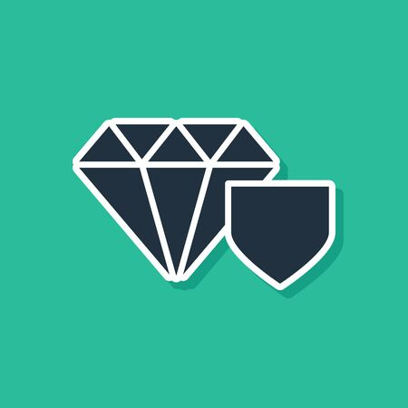 Blue Diamond with shield icon isolated on green background. Jewelry insurance concept. Security, safety, protection, protect concept.