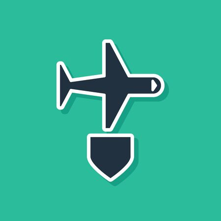 Blue Plane with shield icon isolated on green background. Flying airplane. Airliner insurance. Security, safety, protection, protect concept. Vector Illustration
