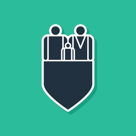 Blue Family insurance with shield icon isolated on green background. Security, safety, protection, protect concept. Vector Illustration