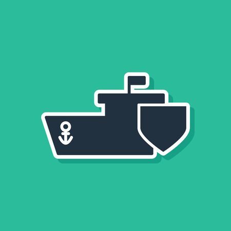 Blue Ship with shield icon isolated on green background. Insurance concept. Security, safety, protection, protect concept. Vector Illustration