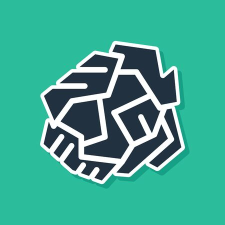 Blue Crumpled paper ball icon isolated on green background. Vector Illustration