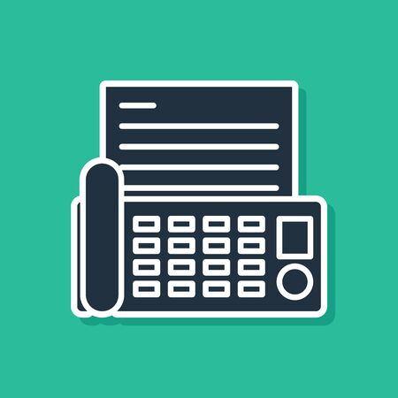 Blue Fax machine icon isolated on green background. Office Telephone. 向量圖像
