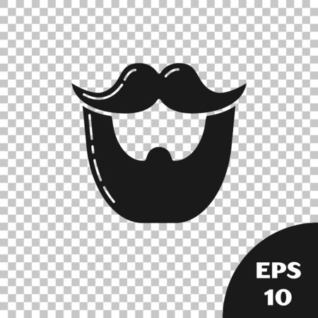 Black Mustache and beard icon isolated on transparent background. Barbershop symbol. Facial hair style. Vector Illustration Ilustração