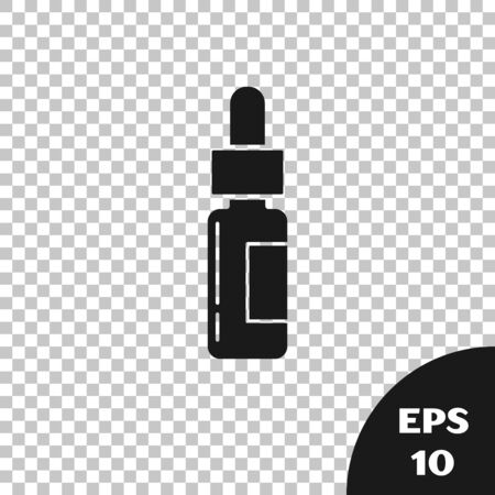 Black Glass bottle with a pipette. Vial with a pipette inside icon isolated on transparent background. Container for medical and cosmetic product. Vector Illustration