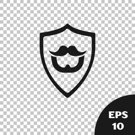 Black Mustache and beard on shield icon isolated on transparent background. Barbershop symbol. Facial hair style. Vector Illustration Ilustração