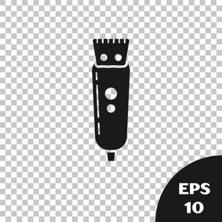 Black Electrical hair clipper or shaver icon isolated on transparent background. Barbershop symbol. Vector Illustration