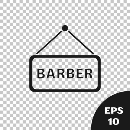 Black Barbershop icon isolated on transparent background. Hairdresser icon or signboard. Vector Illustration