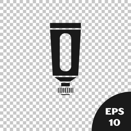 Black Cream or lotion cosmetic tube icon isolated on transparent background. Body care products for men. Vector Illustration