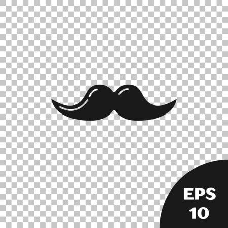 Black Mustache icon isolated on transparent background. Barbershop symbol. Facial hair style. Vector Illustration Ilustração