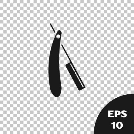 Black Straight razor icon isolated on transparent background. Barbershop symbol. Vector Illustration Ilustração