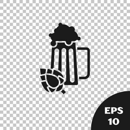 Black Glass of beer and hop icon isolated on transparent background. Vector Illustration