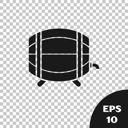 Black Wooden barrel on rack with stopcock icon isolated on transparent background. Vector Illustration