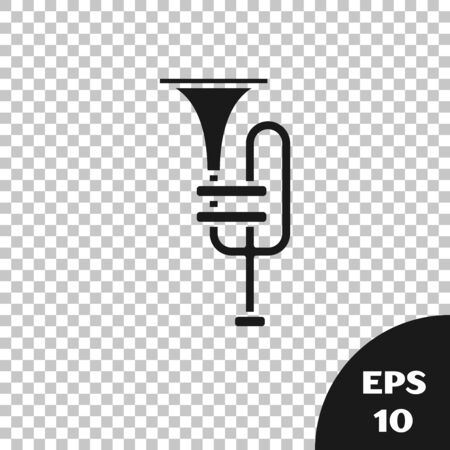 Black Musical instrument trumpet icon isolated on transparent background. Vector Illustration