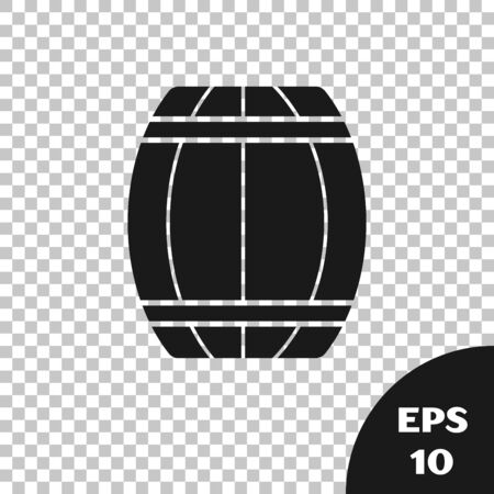 Black Wooden barrel icon isolated on transparent background. Alcohol barrel, drink container, wooden keg for beer, whiskey, wine. Vector Illustration Çizim