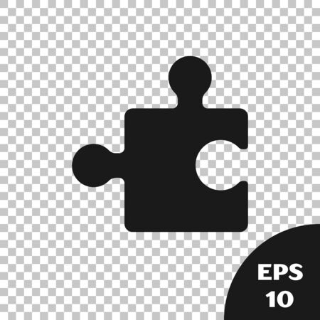 Black Piece of puzzle icon isolated on transparent background. Modern flat, business, marketing, finance, internet concept. Vector Illustration
