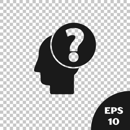 Black Human head with question mark icon isolated on transparent background. Vector Illustration Çizim