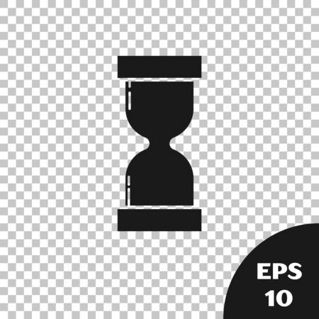Black Old hourglass with flowing sand icon isolated on transparent background. Sand clock sign. Business and time management concept. Vector Illustration