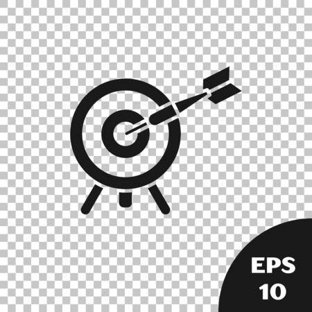 Black Target with arrow icon isolated on transparent background. Dart board sign. Archery board icon. Dartboard sign. Business goal concept. Vector Illustration