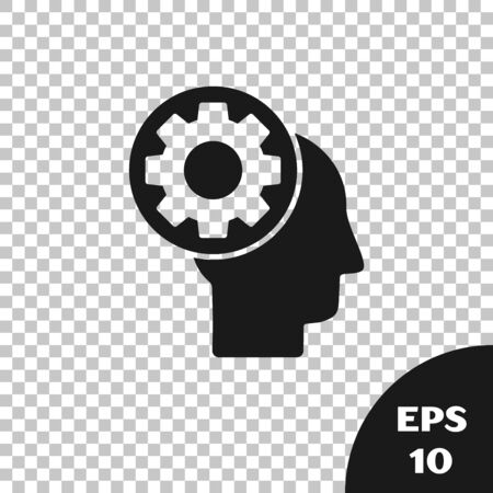 Black Human head with gear inside icon isolated on transparent background. Artificial intelligence. Thinking brain sign. Symbol work of brain. Vector Illustration