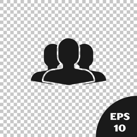 Black Users group icon isolated on transparent background. Group of people icon. Business avatar symbol users profile icon. Vector Illustration