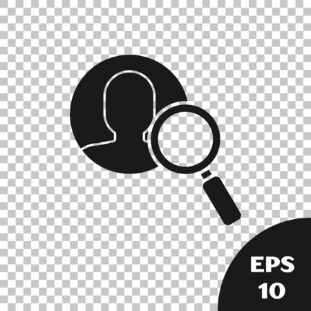 Black Magnifying glass for search a people icon isolated on transparent background. Recruitment or selection concept. Search for employees and job. Vector Illustration Ilustração