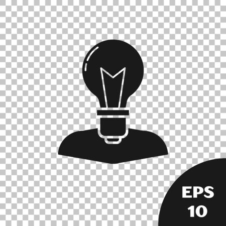 Black Human head with lamp bulb icon isolated on transparent background. Vector Illustration Çizim