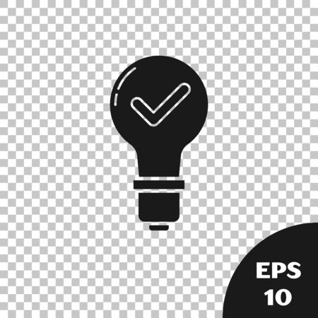 Black Light bulb and check mark icon isolated on transparent background. Concept of idea. Vector Illustration
