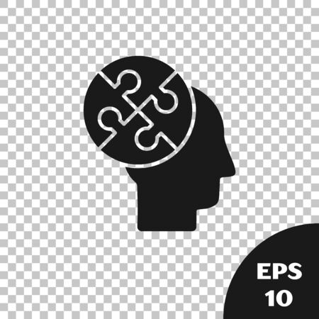 Black Human head puzzles strategy icon isolated on transparent background. Thinking brain sign. Symbol work of brain. Vector Illustration Иллюстрация