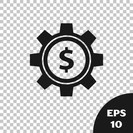 Black Gear with dollar symbol icon isolated on transparent background. Business and finance conceptual icon. Vector Illustration Фото со стока - 131316563
