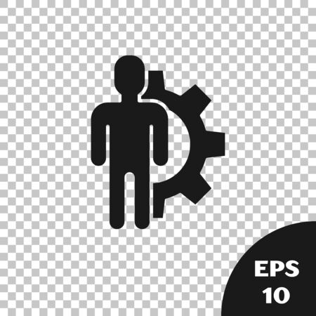 Black Human with gear inside icon isolated on transparent background. Artificial intelligence. Thinking brain sign. Symbol work of brain. Vector Illustration