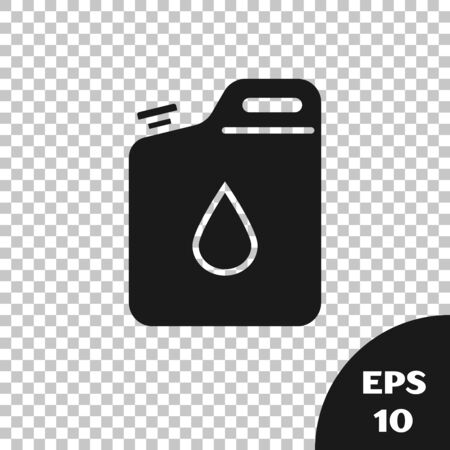 Black Canister for gasoline icon isolated on transparent background. Diesel gas icon. Vector Illustration